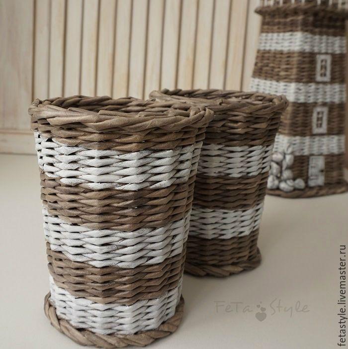 Купить Кашпо плетеные Style Marin - плетение, для интерьера гостиной, морская тема, морской стиль