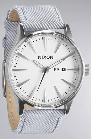 The Sentry Leather Watch in Pinstripe by Nixon
