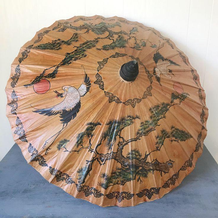 vintage oil paper parasol - Asian chinoiserie umbrella