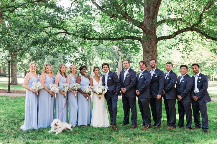 Light Blue Bridesmaid Dresses, Navy Suits! Perfect!