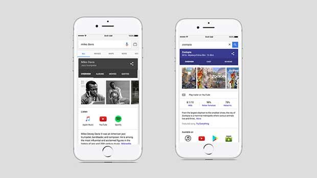 Google iOS sonunda Android ve masaüstü özelliklerine kavuştu. Yeni güncelleme ile film, müzik, ve tv programları aramaları yapılabiliyor.
