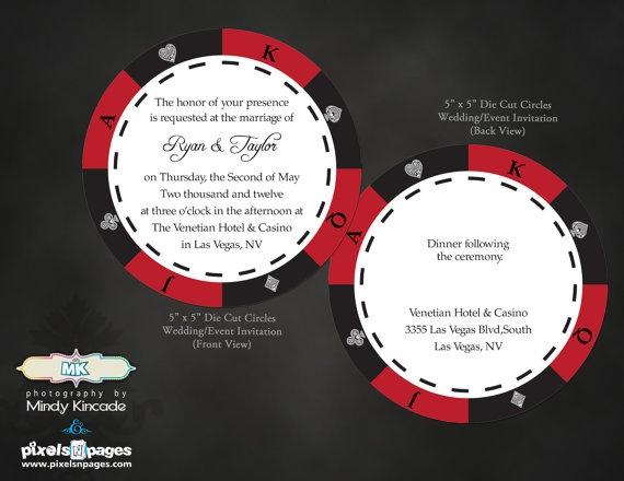 25 Las Vegas Wedding Invitations Custom Die Cut By PixelsNpages 7500