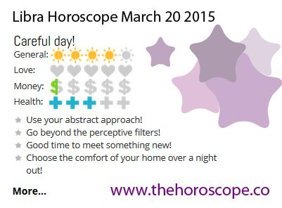 Careful day for #Libra on March 20th 2015 #horoscope ... http://www.thehoroscope.co/horoscope/Libra-Horoscope-today-March-20-2015-2659.html