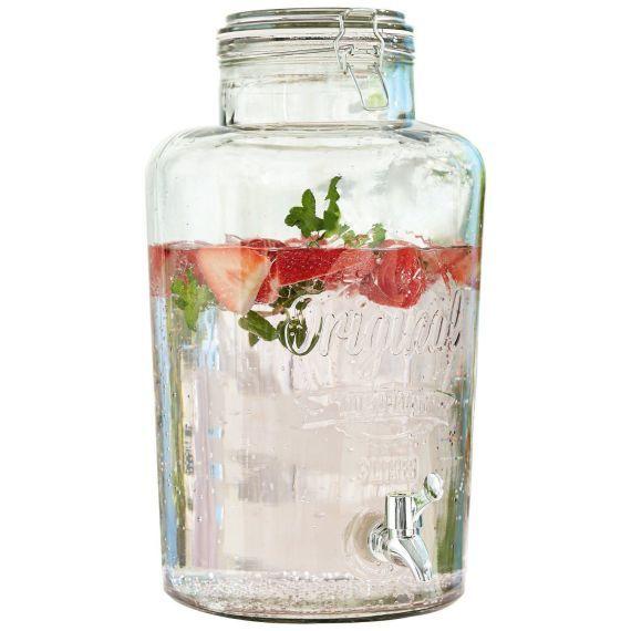 Getränkespender, mit Zapfhahn, Glas, 8 Liter Vorderansicht