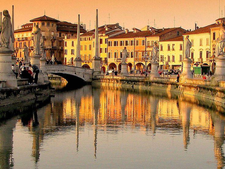 Padua  ~  Prato della Valle (a 90,000 square meter elliptical square), view from the canal of the Prato.
