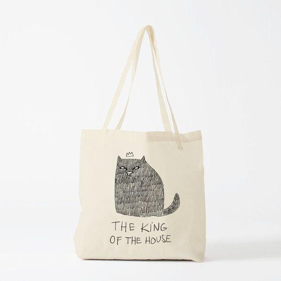 Tote Bag Chat The King Of The House sac en toile par Bambouchic Paris !