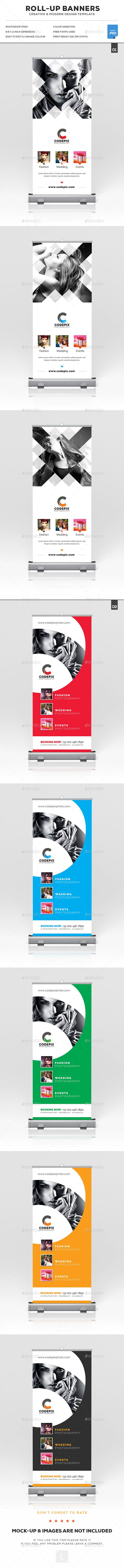 Photography Roll-Up Banner Templates PSD Bundle. Download here: https://graphicriver.net/item/photography-rollup-banner-bundle/17283417?ref=ksioks