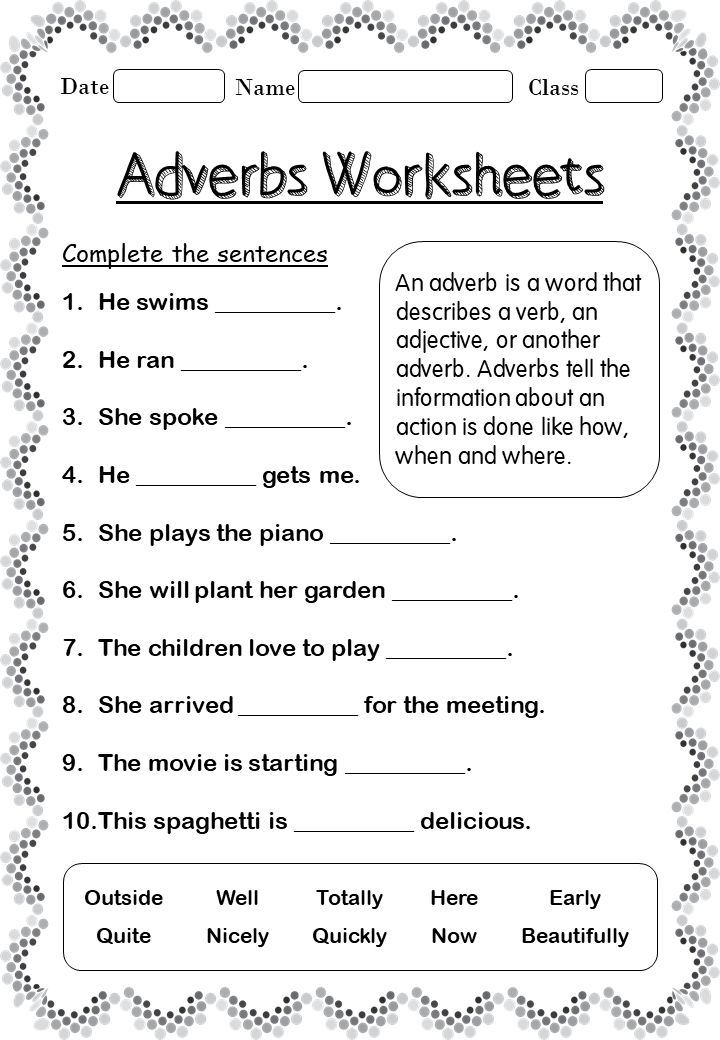 Printable Adverb worksheets for 2nd Grade in 2020