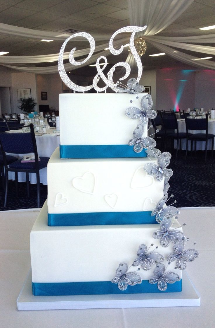41 best cakes by emmas cake creations adelaide sa images on teal white cascading butterfly wedding cake junglespirit Images