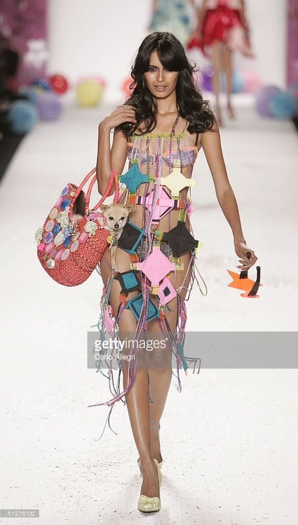 A model walks down the runway at the Heatherette show during Olympus Fashion Week Spring 2005 in Bryant Park September 8, 2004 in New York City.