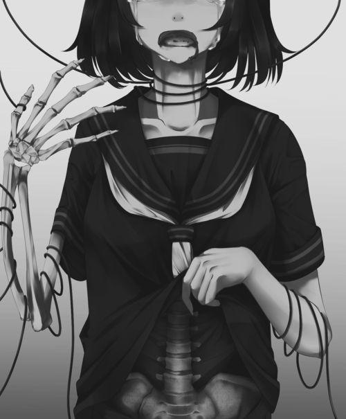 Anime #Zombie #Zombie girl #gore - PicsArt