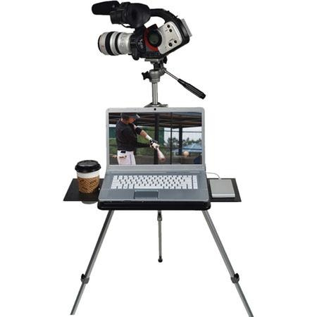 """Tripad TR-549 Tripod Mountable Portable Workspace: Slip this 13.5"""", 3.5lb folding polymer platform over your tripod for a flat, stable work surface so you can easily check your shots onscreen, and offload memory cards while in the field. Comes with slide out extensions for extra area, it's also perfect for computer  tethered shooting. #Tripod_Computer_Platform #Photography"""