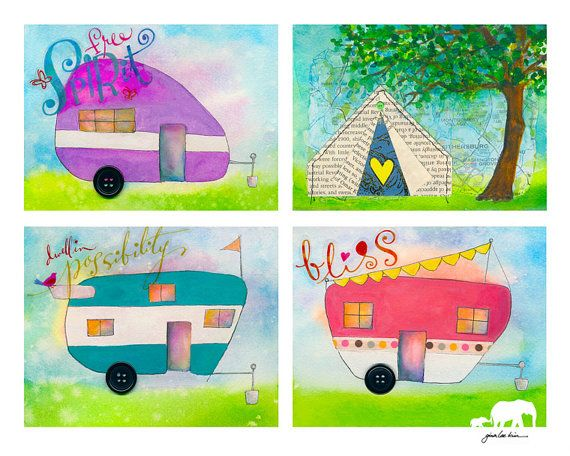 Watercolor print. 3 Retro Campers and a Tent. Each by GinaLeeKim