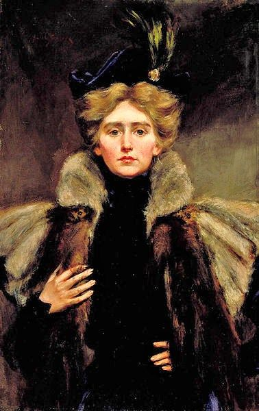 ▴ Artistic Accessories ▴ clothes, jewelry, hats in art - Alice Pike Barney (American artist, 1857–1931) Natalie in Fur Cape 1896