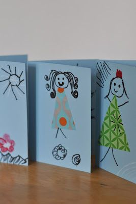 I love how simple this craft for Mothers' Day is: Cardstock, Sharpie pens, patterned paper and glue. Voila!