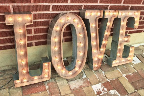 """36"""" & Larger letter lights-Custom LOVE marquee, Wedding Marquee Signs Industrial lighting w/ Metal, Large Light Bulb Letter Sign Wall Light Large Metal Letters Light - LOVE Marquee Letter Sign Wall Light - YOUR CHOICE OF 4 LETTERS or symbols SMALLER SIZES AVAILABLE here :"""