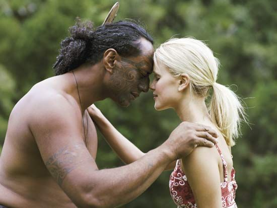 A Maori man greets a tourist in the traditional Maori form of welcome. This makes me feel deeply happy.