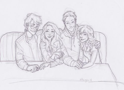 Harry, Ginny, Ron, Hermione i think this is perfect. this is exactly how the characters would have looked like