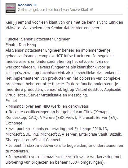 Je #zoektwerk Wij hebben een #vacature Senior Datacenter Engineer #IT regio DenHaag Wij zijn op zoek naar een Engineer met kennis van Citrix en VMware regio Den Haag.   Als Senior Datacenter Engineer beheer en implementeer je geheel zelfstandig complexe ICT infrastructuren.