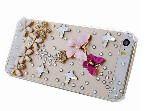 Worth *17* Cool Points! iPhone 6/6S, 6/S Plus, 5/5S, iPod Touch 6/5- Exquisite 3D Crystal Butterflies Over Flower Rhinestone Bling Case Item 1225 Specialty: Su