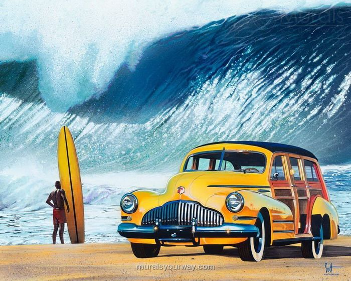 Wall Mural Decor With Surf And Car Beach