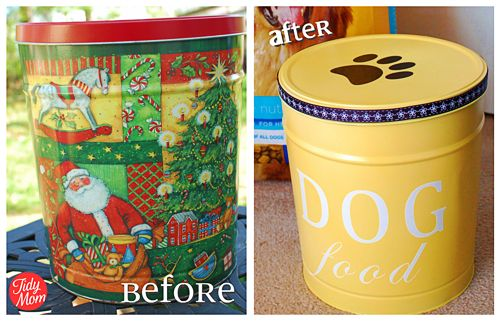 Turn the christmas popcorn tin into dog food container!