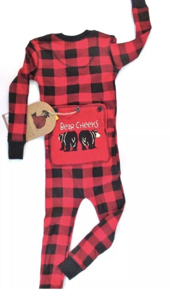 9b480a1ef17 Kids Flapjack Plaid Buffalo Check Bear Cheeks Pajamas Black Red  LazyOne   Pajamas