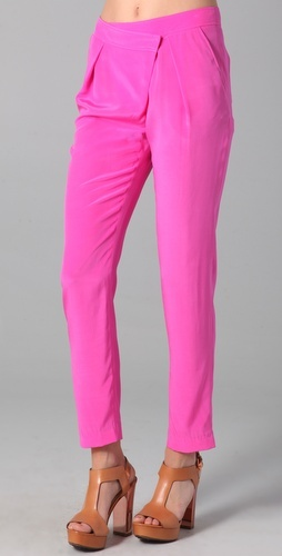 Tibi asymmetrical pink silk pants