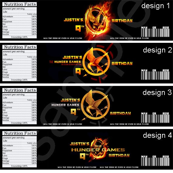 The Hunger Games Birthday Party Water Bottle Label. $3.00