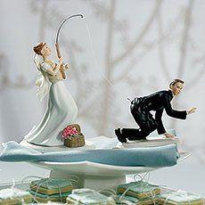 Bride Fishing for Groom Cake Topper