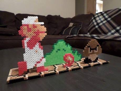 Escena de juego 3D de Super Mario Bros Perler cuentas
