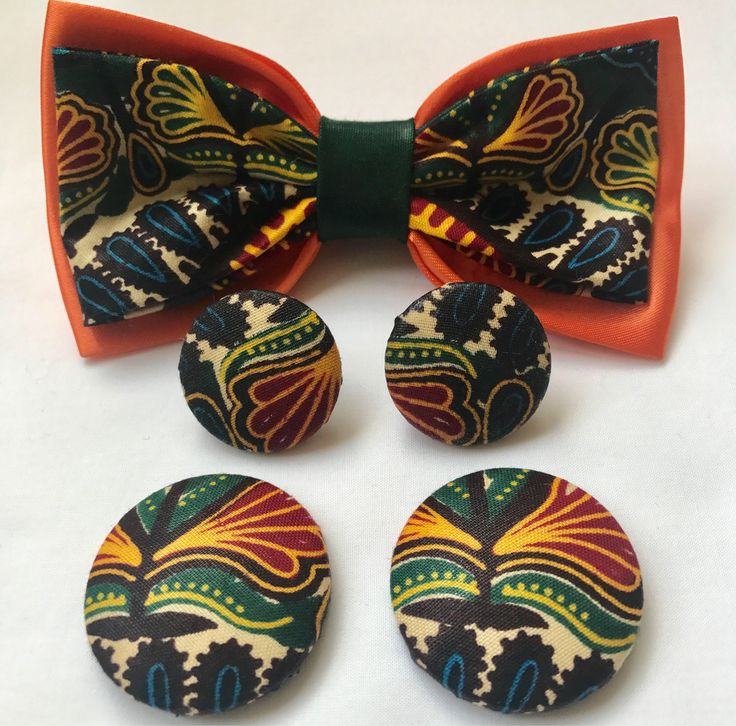 African Dashiki Print Wax Pre-tied Bow tie Medium & Large Button Earrings Set by Flolessfashion on Etsy https://www.etsy.com/uk/listing/556852365/african-dashiki-print-wax-pre-tied-bow