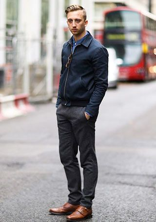 紺A2ジャケットと合わせてカジュアルに メンズ秋冬ファッション<スラックス>