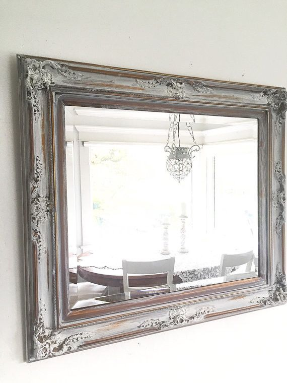 French Ornate WALL MIRROR, Antique Wood Gold with White Bathroom Mirror Farmhouse Style
