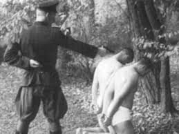 communist-execution: NKVD executing Polish offices in Katyn Forest. In 1940, NKVD murdered 35,000 Polish officers at this site. Russians conviently blamed atrocity on Germans, even executing some high ranking officers after the War. NKVD Major General Vasily Blohkin seen in photo, personally shot 15,000 of these officers!