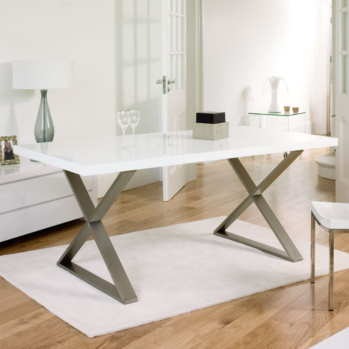 crossed leg gloss dining table white 599 white gloss lacquer brushed stainless