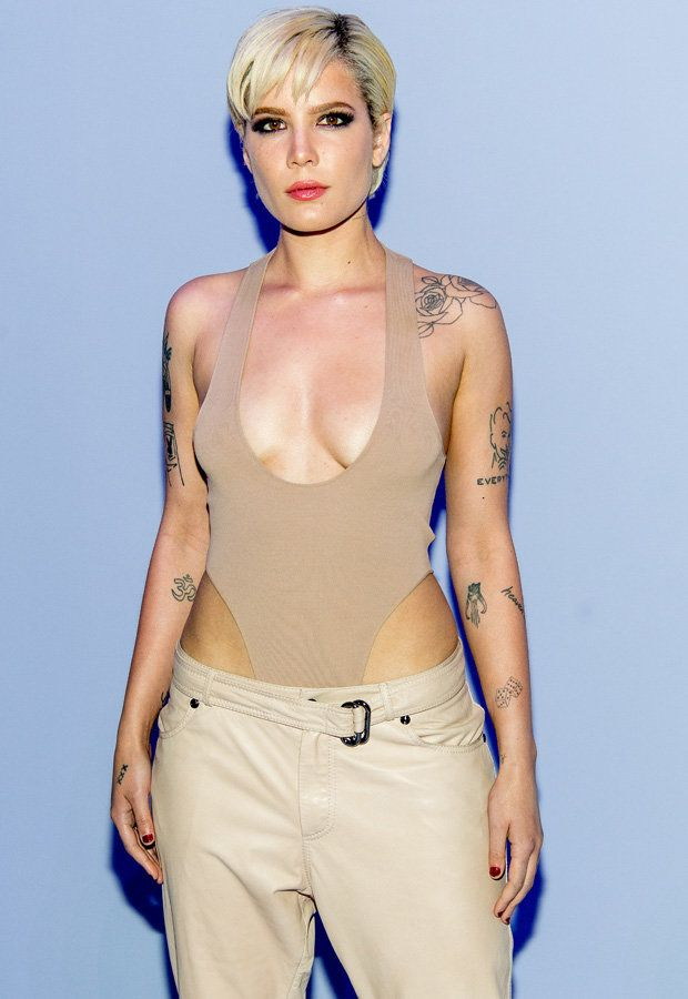 US pop babe Halsey ditches bra while sporting scooping neckline   The American songstress braved the winter chill in New York showing off serious skin on Tuesday.  Hitting up New York Fashion Week despite the ice-cold temperatures Halsey 23 decided to attend the Tom Ford mens show sporting a rather skimpy ensemble.  The Bad At Love singer opted for a pair of tan coloured trousers over a matching leotard which left very little to the imagination.  Her plunging top gave the tattooed vixen an…