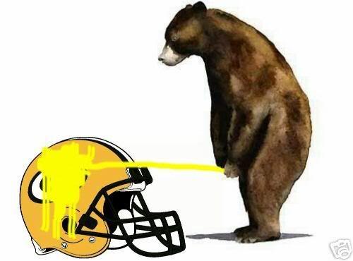 Packers peeing on bears helmet