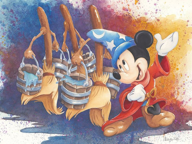 Fantasia - Magical March - Sorcerer Mickey - Michelle St. Laurent - World-Wide-Art.com - #disney #michellestlaurent #fantasia #mickeymouse #sorcerermickey