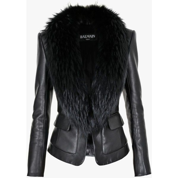 Balmain Fur-trimmed leather blazer (389,870 INR) ❤ liked on Polyvore featuring outerwear, jackets, blazers, fur collar jacket, cropped blazer, fur trimmed jacket, cropped leather jacket and real leather jacket