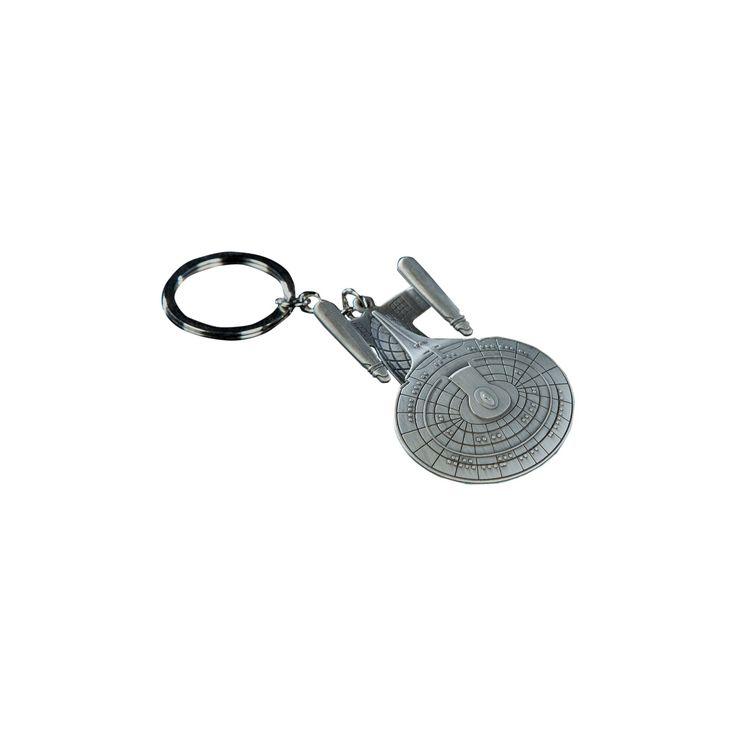 Quantum Mechanix Star Trek Uss Enterprise Ncc-1701-D Key Chain, Size: Small, Silver