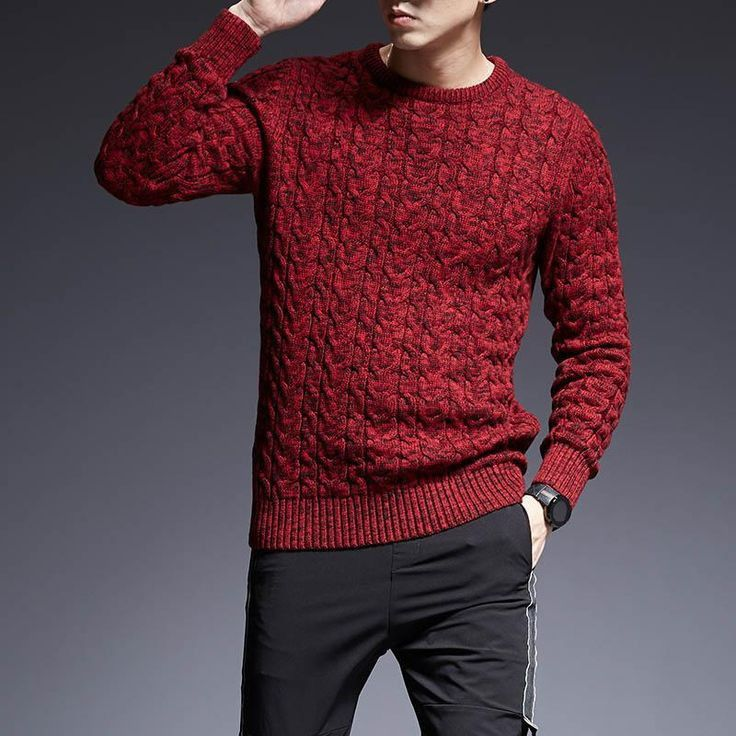 Mens Knitted Sweater Slim Fitness Jumper Pullover Casual Long Sleeve Winter Tops