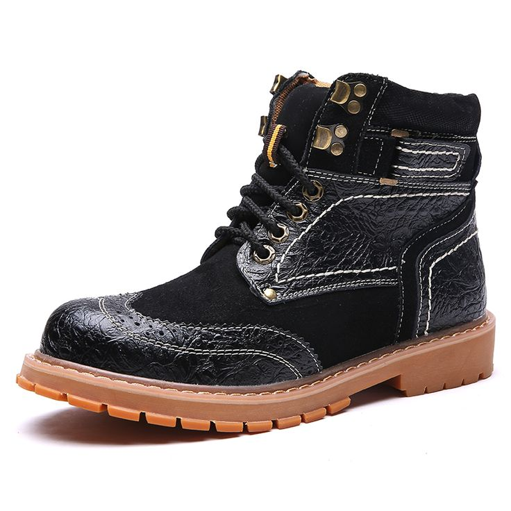 2016 New Men Motorcycle Boots Genuine Leather Men Rubber Work Boots High Top Military Boots Autumn Flat Shoes Footwear