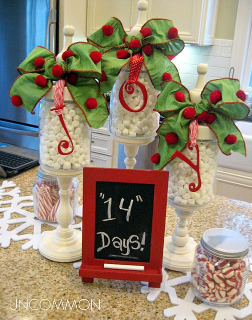 Counter tops Cute holiday decor. Link gives instructions on where to find pieces to make these: Christmas Countdown, Holidays Decor, Kitchens Counter, Christmas Decor, Minis Marshmallows, Christmas Ideas, Candy Jars, Diy Projects, Apothecaries Jars