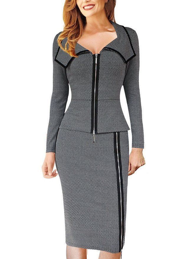 VfEmage Womens Vintage Front Zipper Wear to Work Office Business Casual Dress  2147 Grey 12 >>> Read more at the image link.