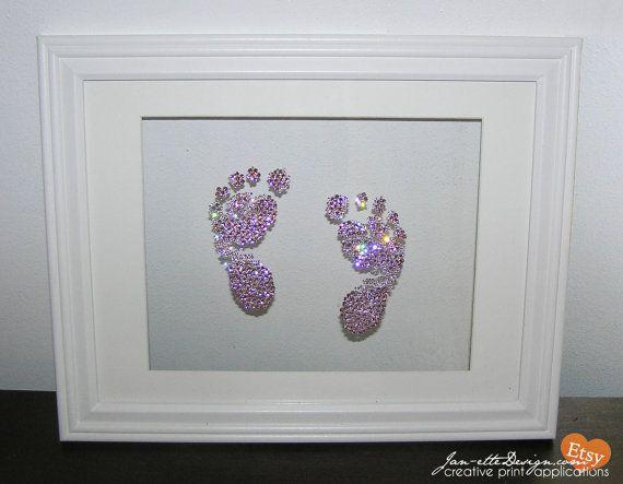 Nursery Wall Art - Custom Swarovski Crystal Baby FootPrints