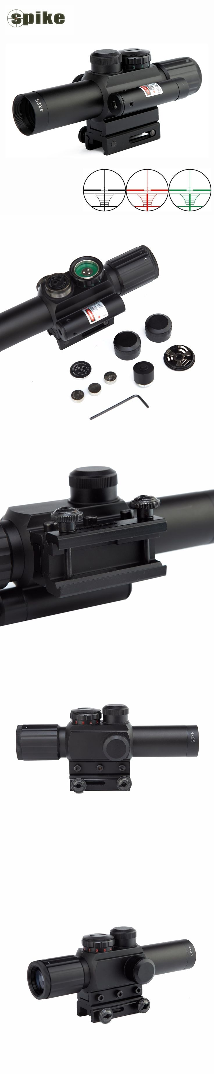Spike M6 11mm 20mm dovetail tactical scope 4x25 rifle sights with red laser sight, 24 Mil dot riflescope for hunting air gun