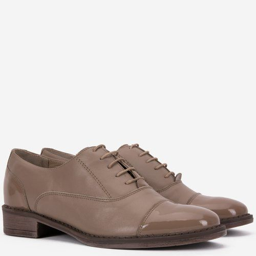 Pantofi Oxford din piele naturala bej Madison