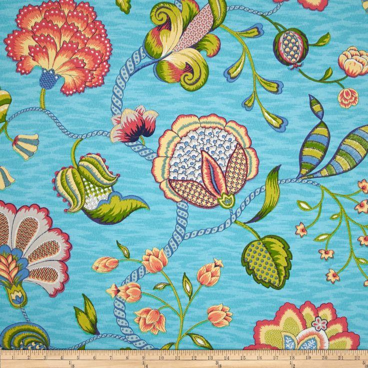 P Kaufmann Indoor/Outdoor Arabella Caribbean Blue Fabric   Fabrics Australia