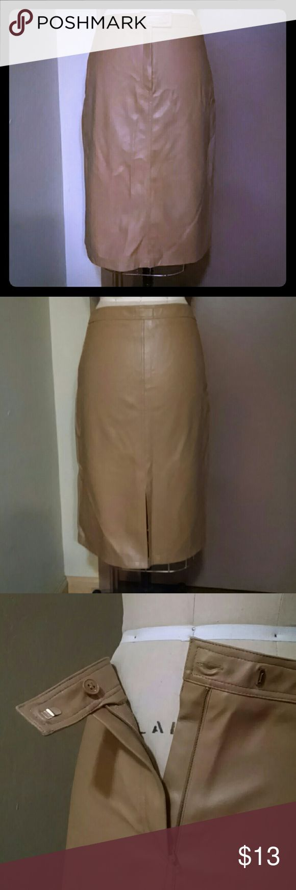 "Camel vinyl Morgan de Toi midi skirt 26"" knit back vinyl with center front placket closure. 8.5"" slit at center back hem. Smooth band at waist sits below waistline. From a smoke free, pet free home. Morgan de Toi Skirts Midi"